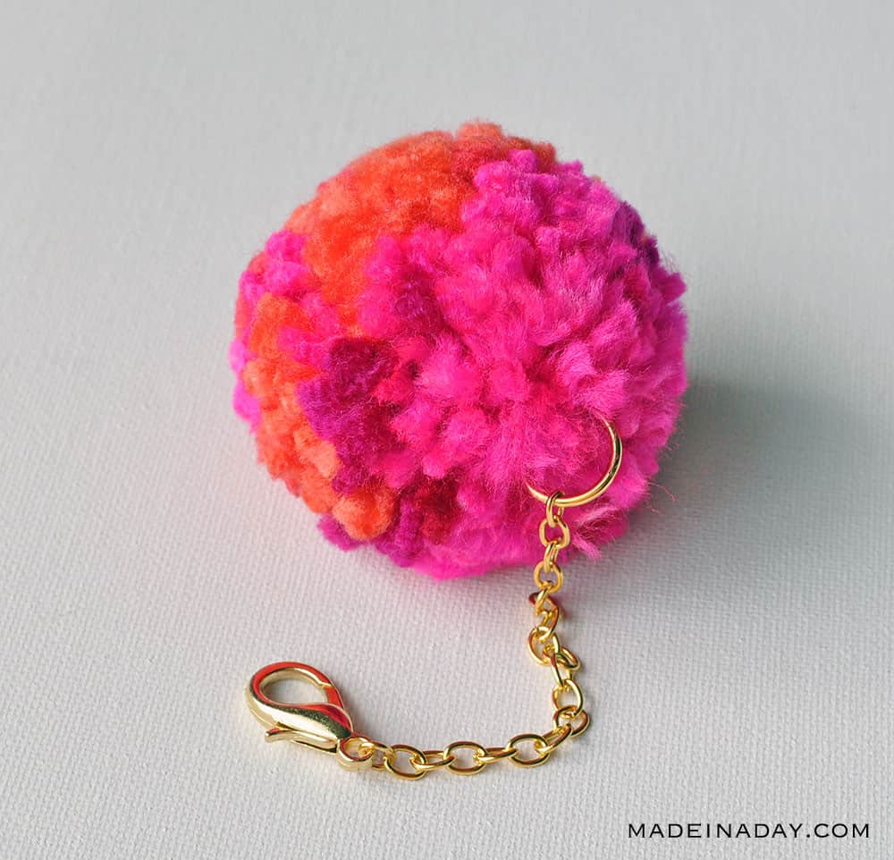 How to make a diy pom pom keychain