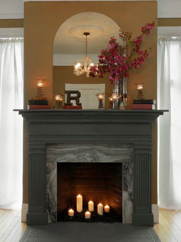 How to add a wood and stone fireplace surround