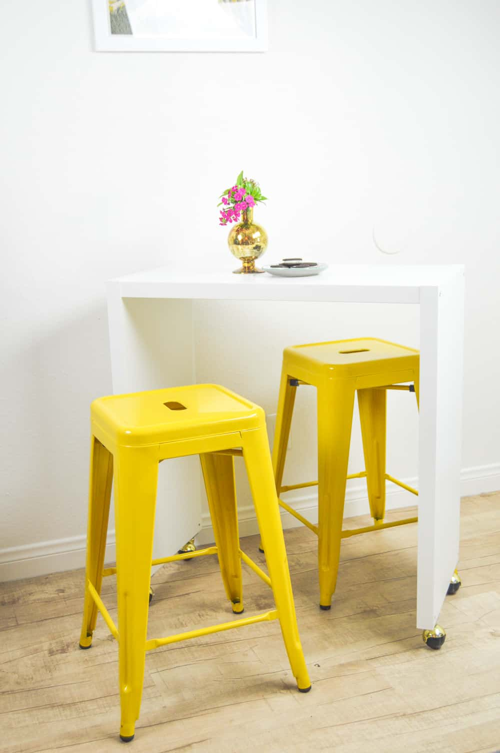 Ikea haxk rolling kitchen island with pained bar stools