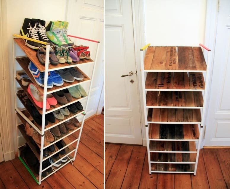 Ikea shelf hack to homemade shoe rack