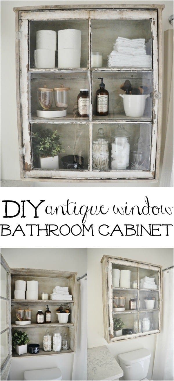 In set diy bathroom cabinet from a vinage window