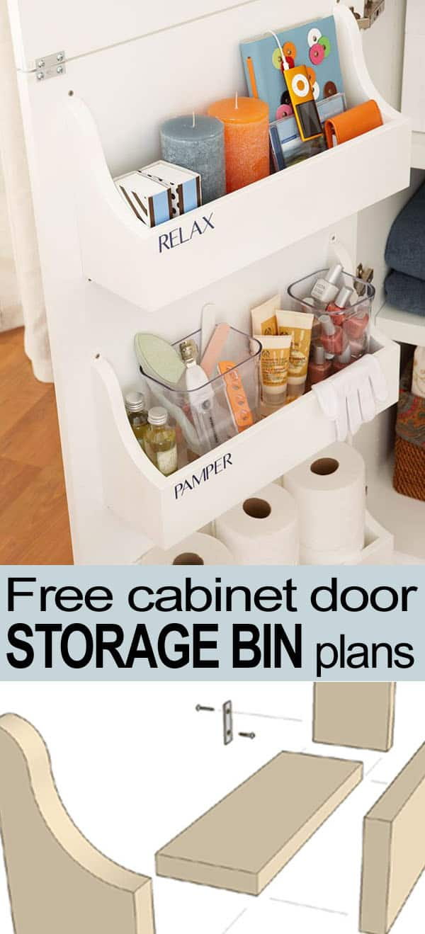 Inner cabinet door mounted storage bins