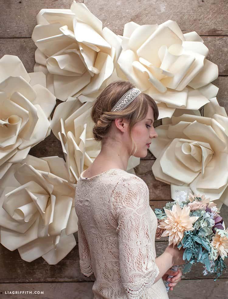 Jumbo paper flower photo backdrop