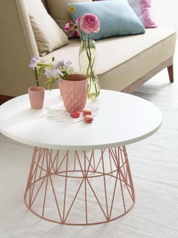 Light weight, upside down wire basket rounded table