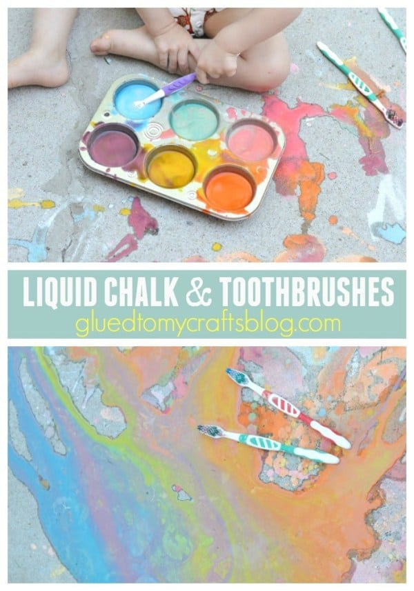 Liquid chalk and toothbrush sidewalk painting
