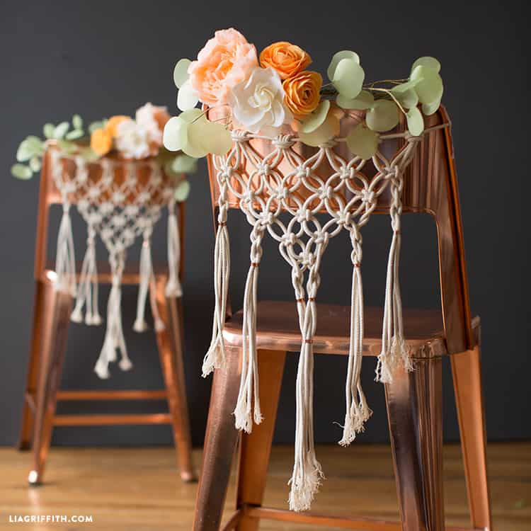 Macrame wedding chair hangers