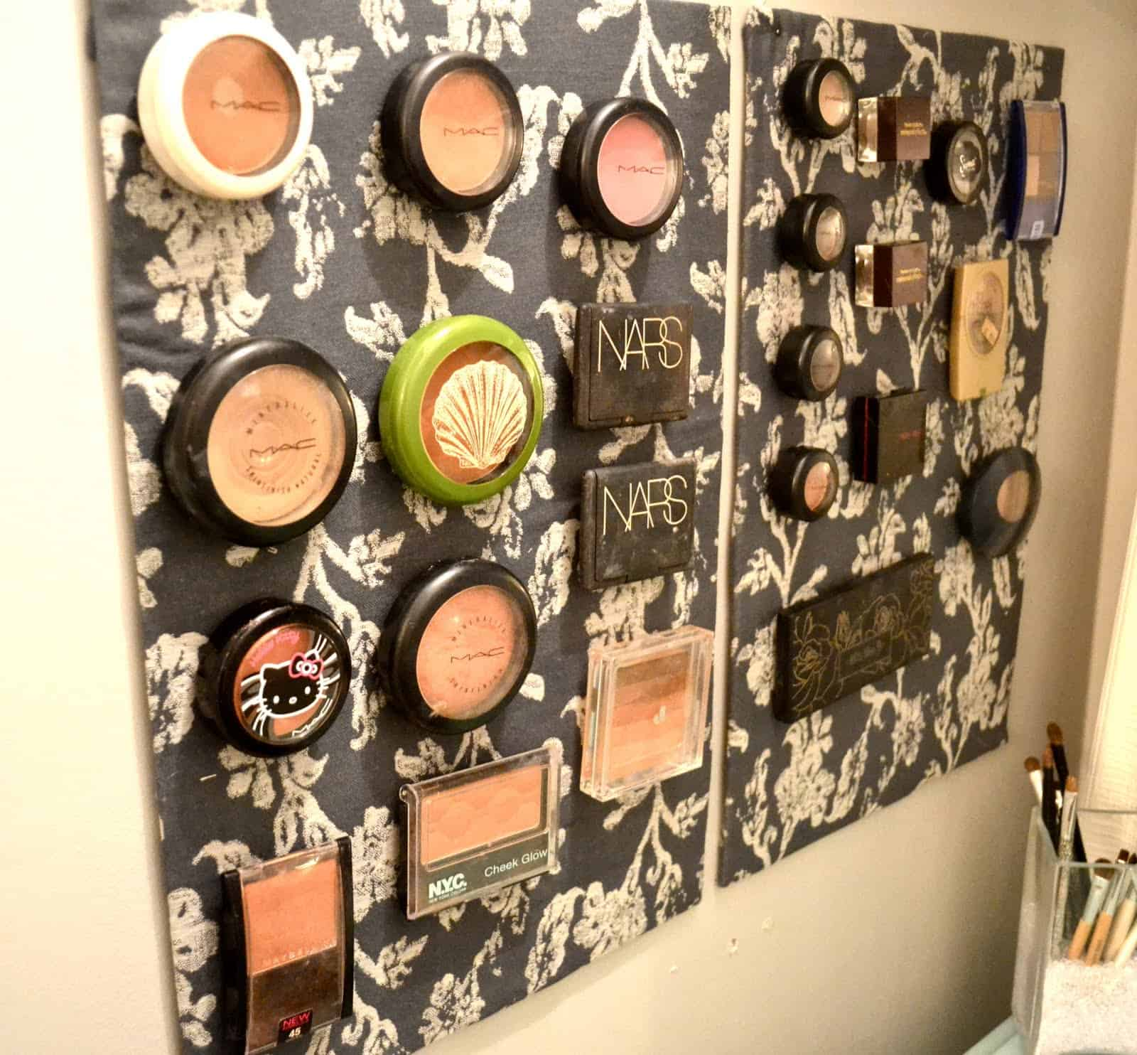 Magnet board makeup storage