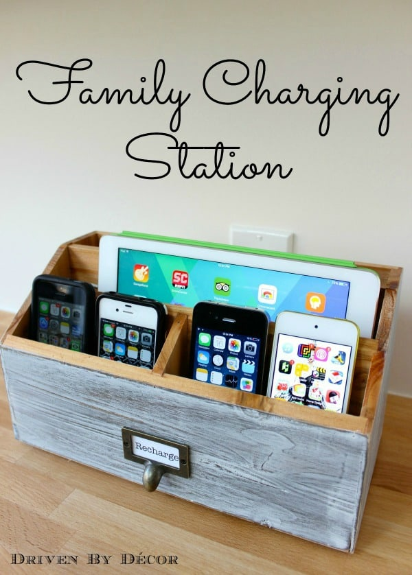 Make a multi device charging station from a desk organizer