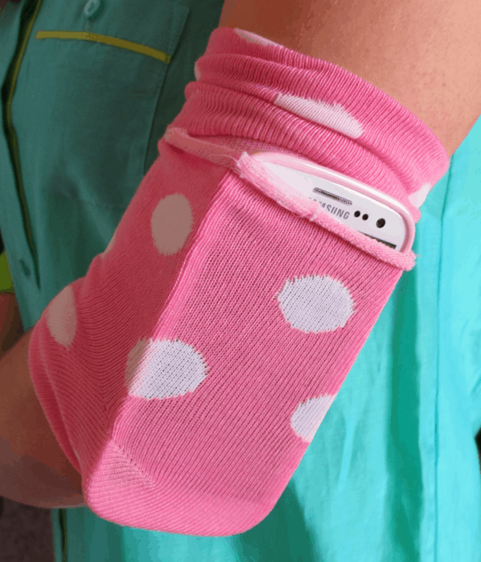Make a workout band for your phone from a sock