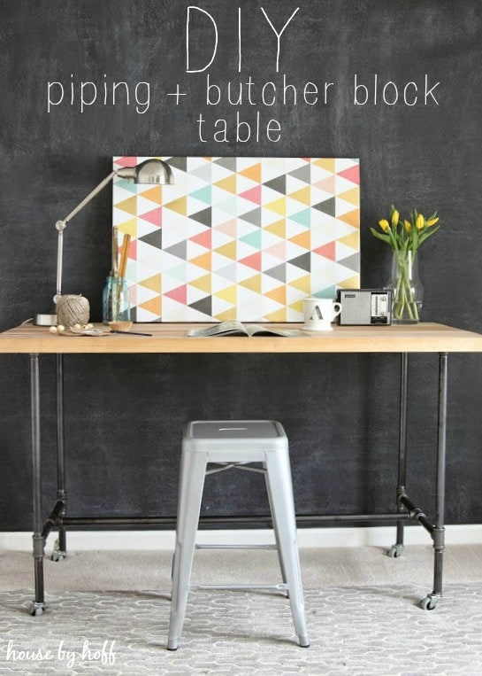 Metal piping and butcher block table