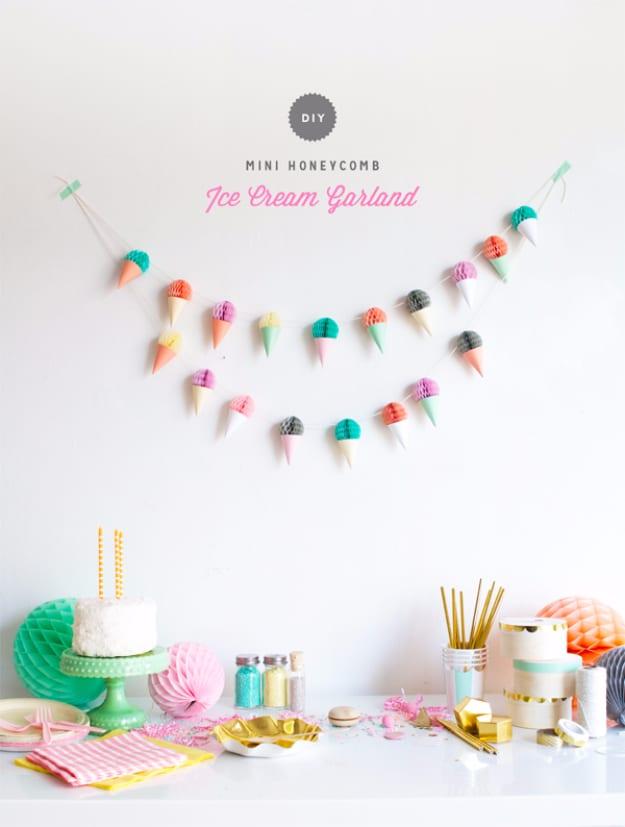 Mini honeycomb ice cream garland