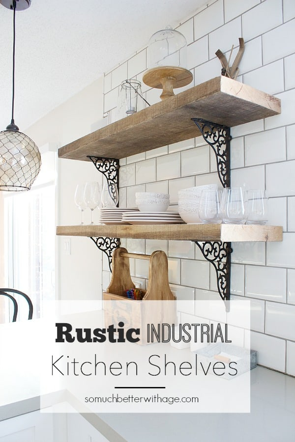 Modern rustic floating kitchen shelves