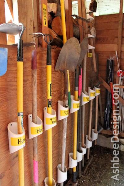 Pvc pipe yard tool storage