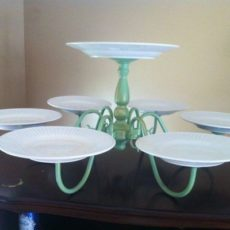 Painted chandelier and plates cake stand