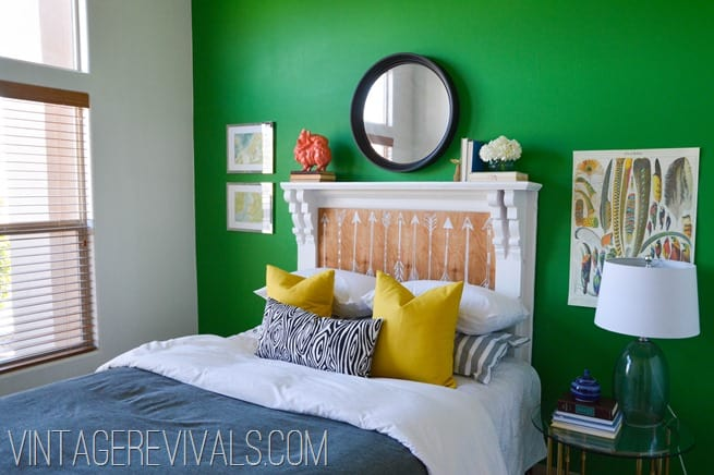 Painted fireplace mantel headboard