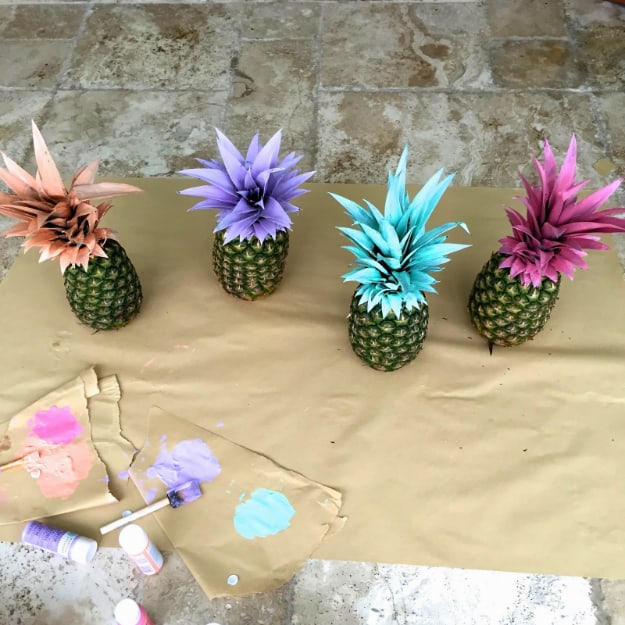 Painted pineapples party decor