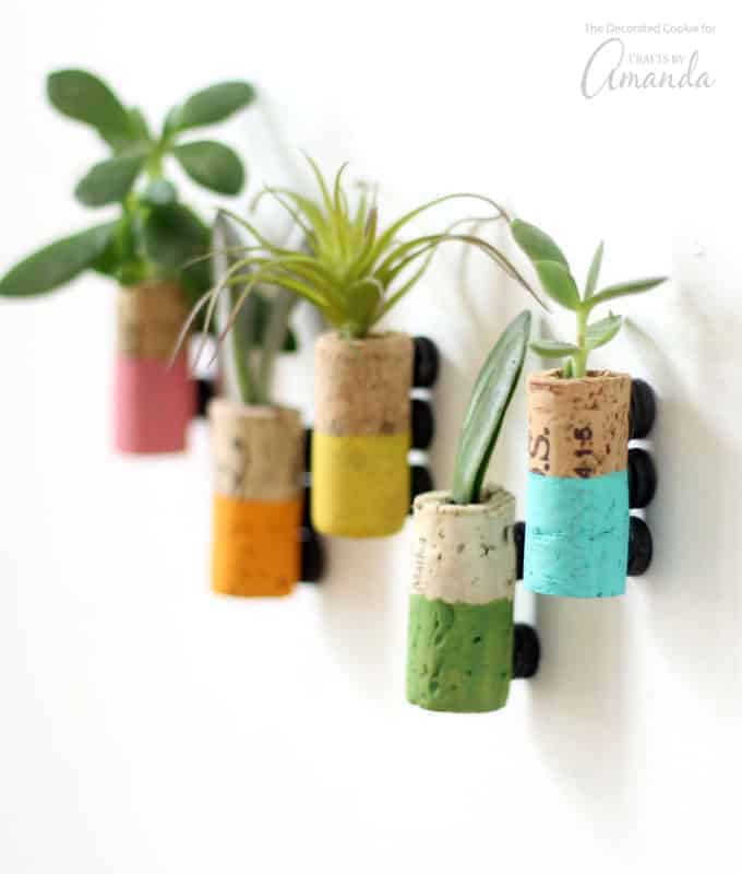 Painted wine cork succulent planter magnets