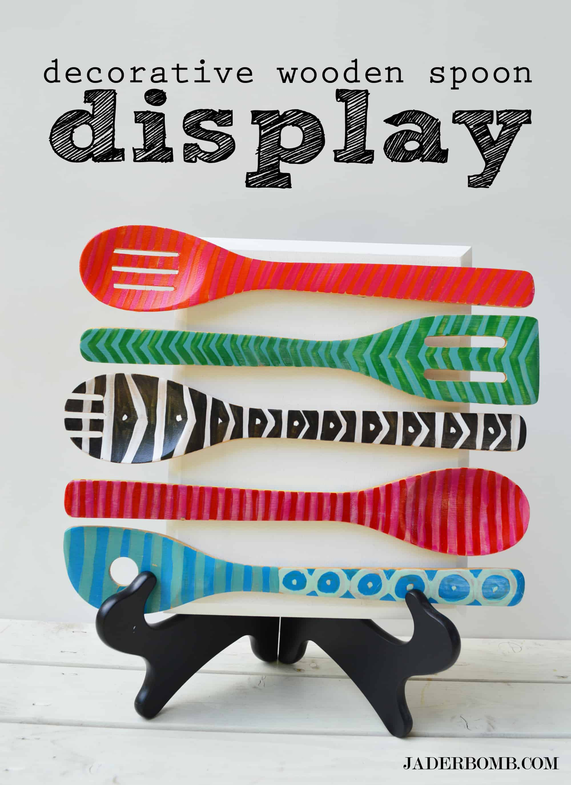 Painted wooden spoon display