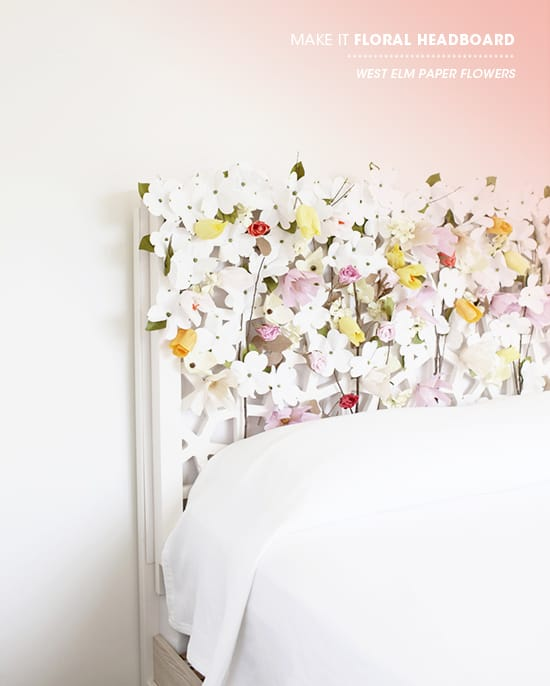 Paper flowers headboard