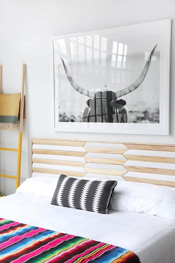 Pieced together geometric wooden headboard
