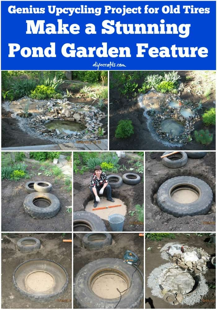 Pond feature made from a tractor tire
