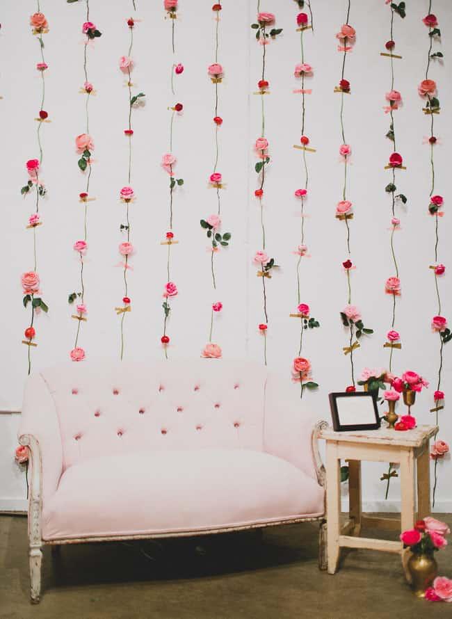 Pressed fresh flower wall