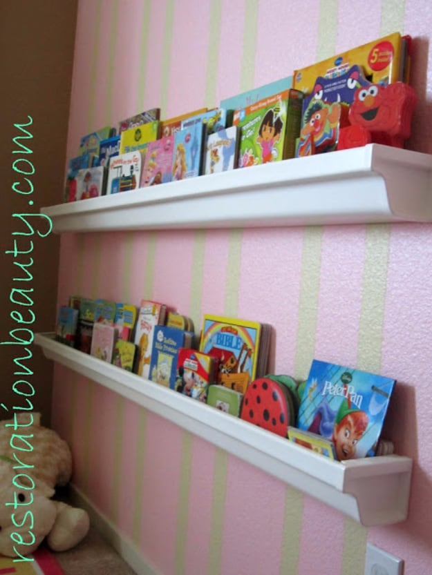 Rain gutter bookshelves