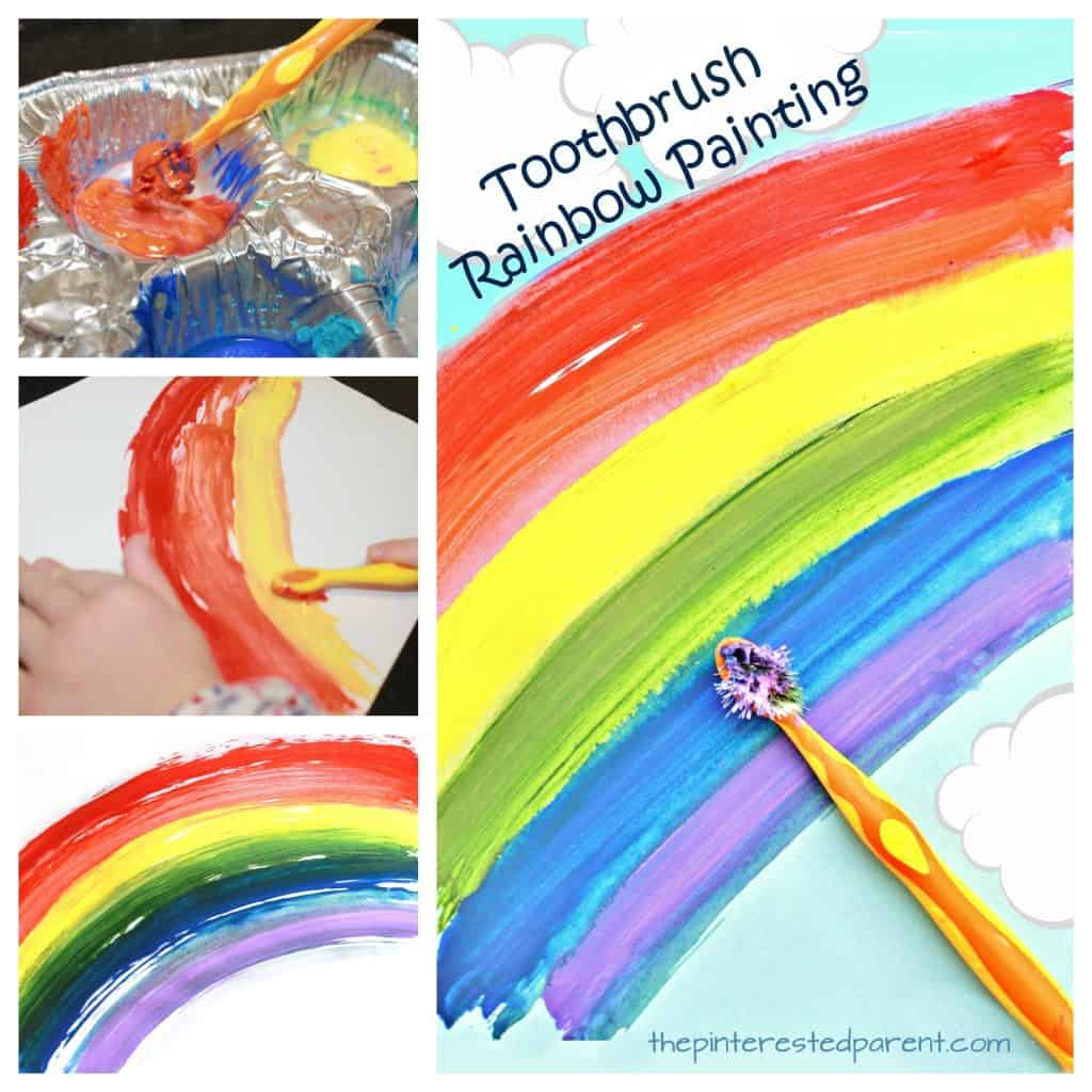 Rainbow toothbrush painting