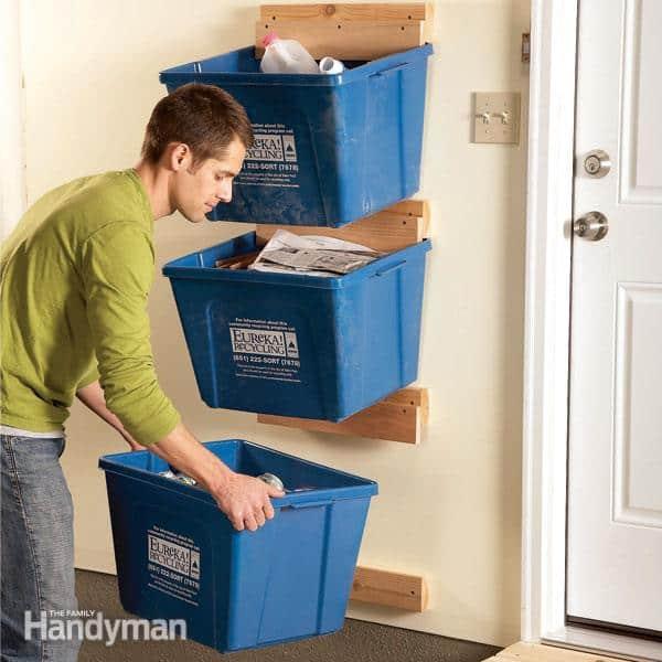 Recycling bin wall hangers