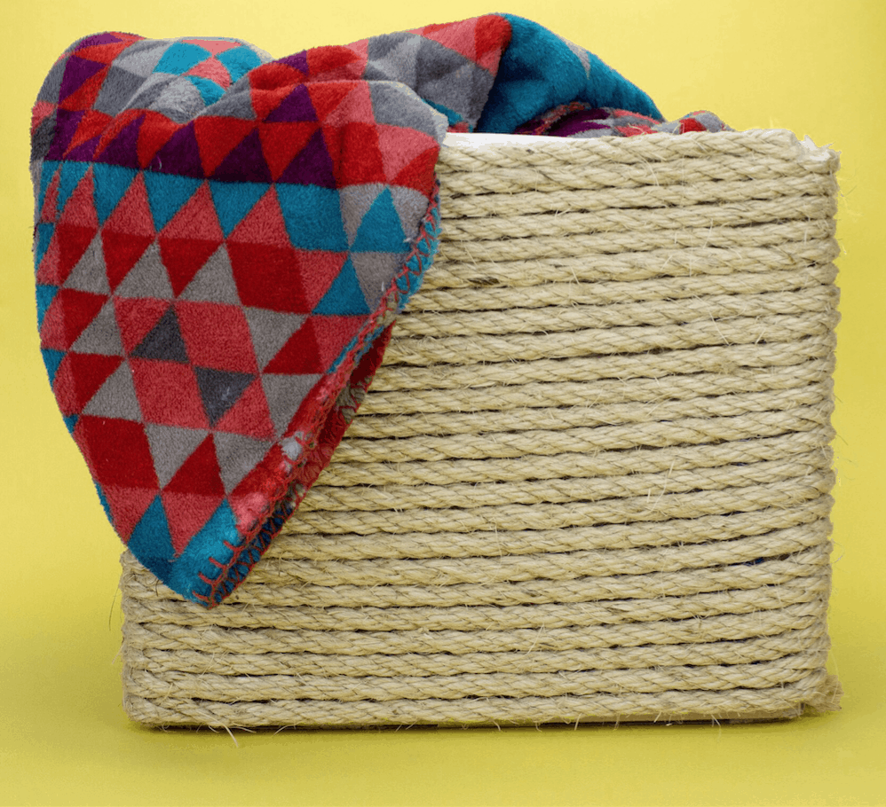 Rope wrapped cardboard basket