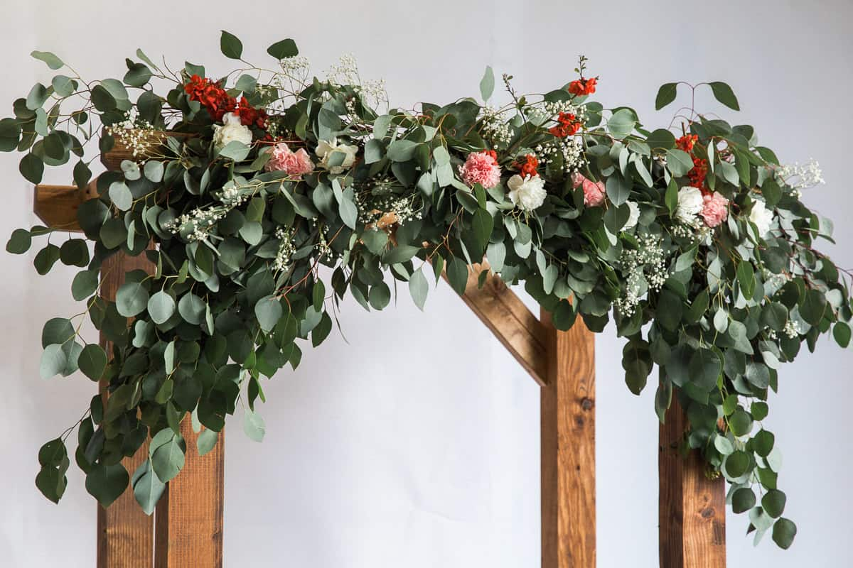 Roses and vines wooden arch