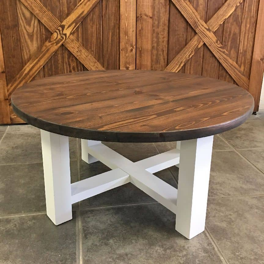 Rounded, x base farmhouse coffee table