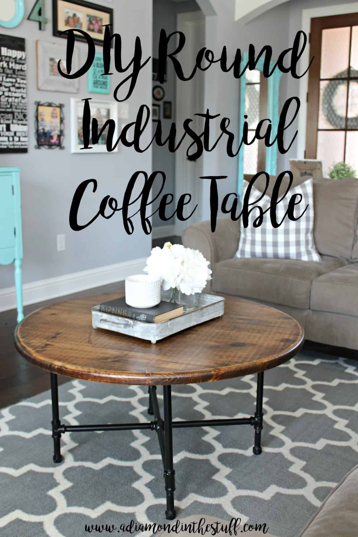 Rounded industrial coffee table