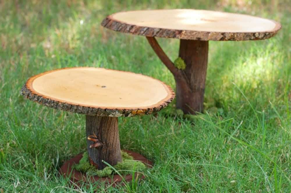 Rustic diy wood slice and branch stand