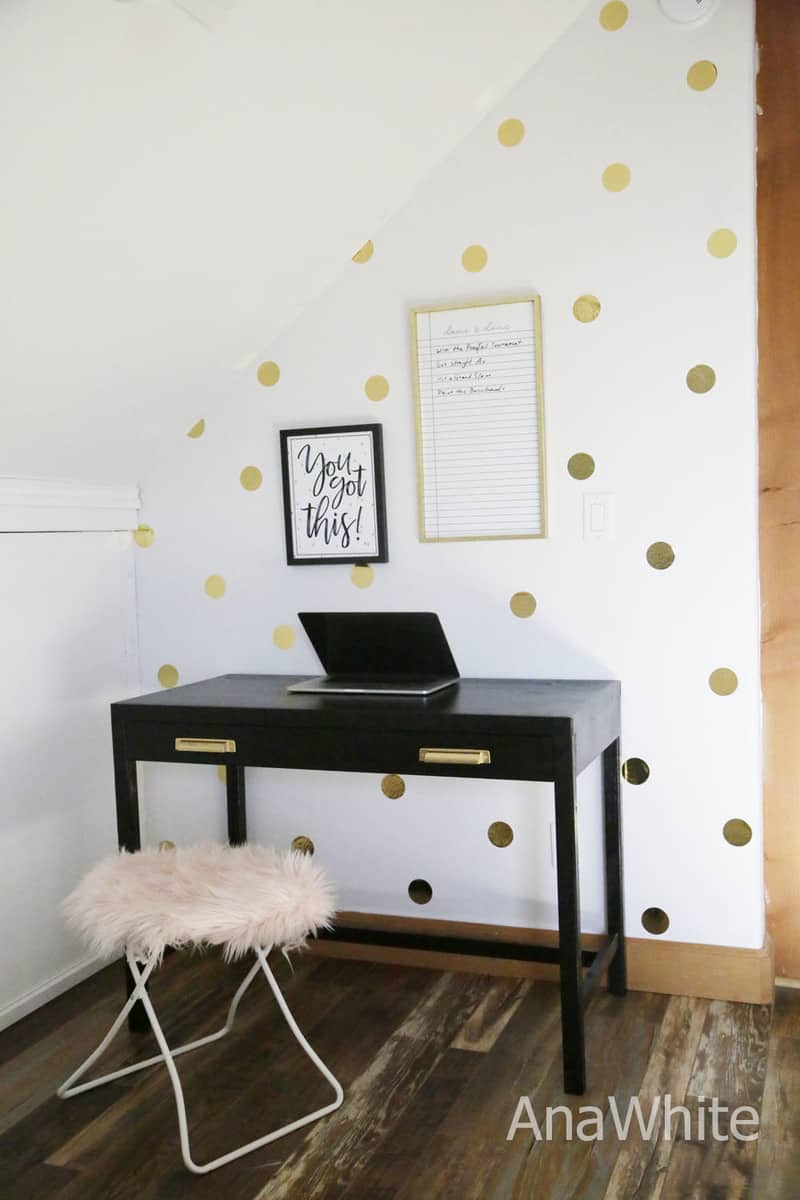 Simple two drawer writing desk