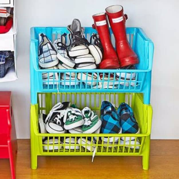 Stacked basket storage for little shoes