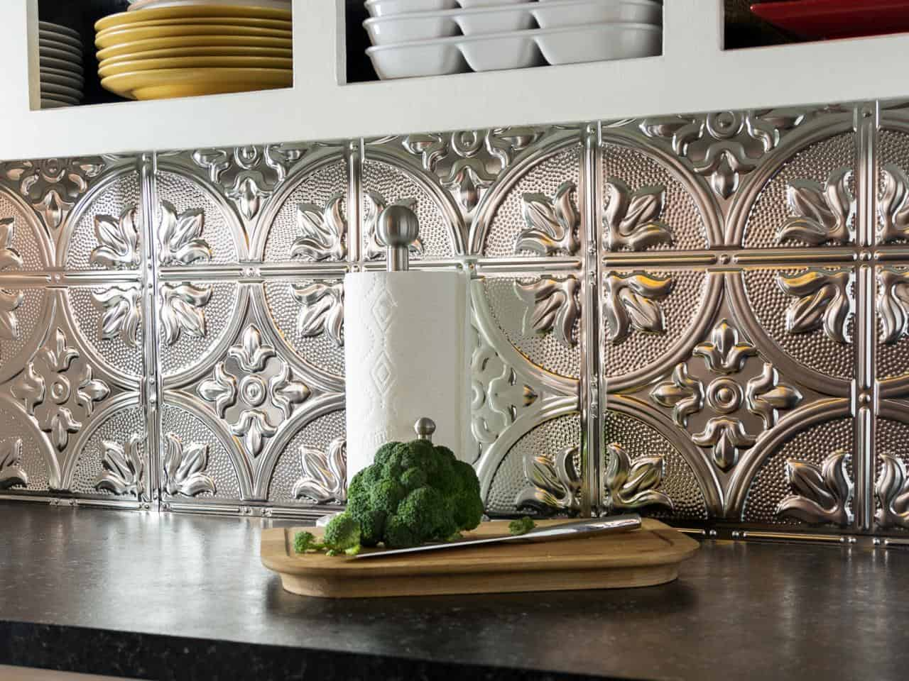 Tin tile kitchen backsplash