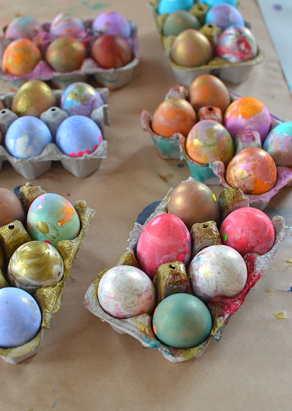 Toothbrush painted easter eggs