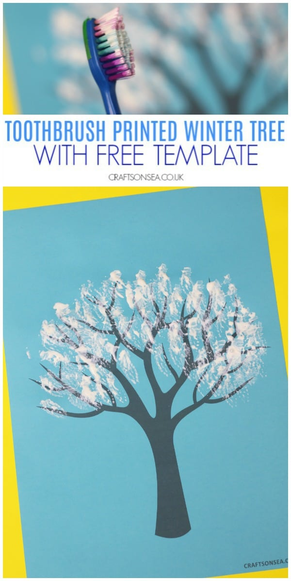 Toothbrush printed winter tree painting