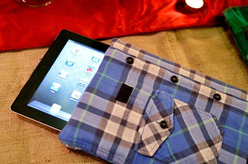 Upcycled plaid shirt ipad case
