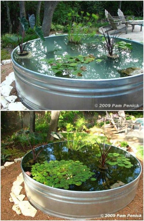 Upcycled stock tank garden pond