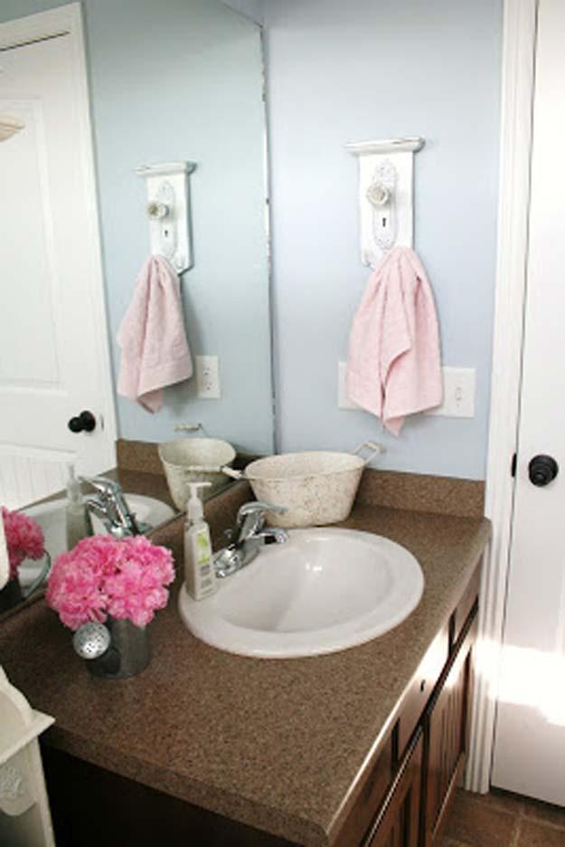 Vintage cupboard knob towel hanger