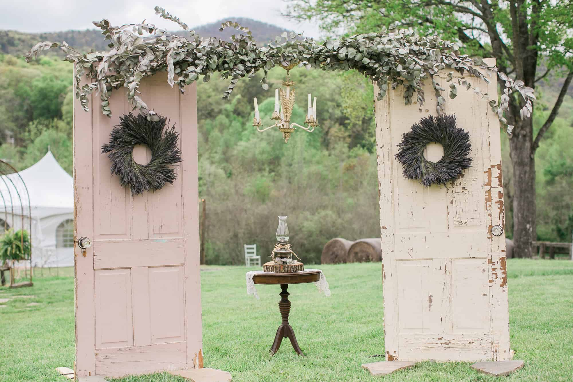 Vintage doors wedding arch