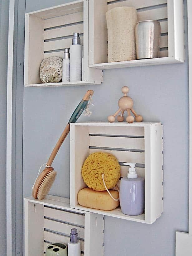 Wall mounted crate storage