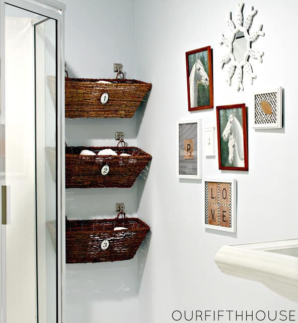 Wall mounted window basket bathroom storage