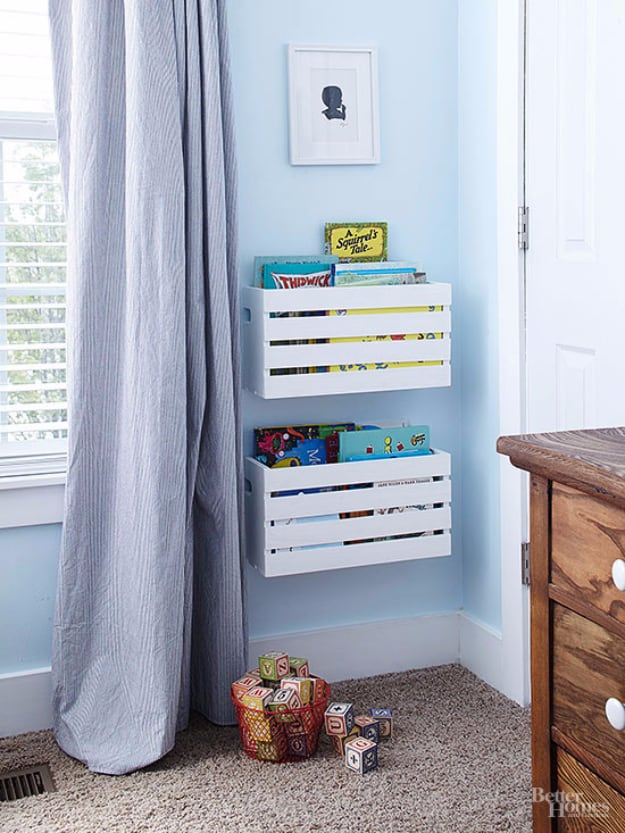 Wall mouted book and toy crates