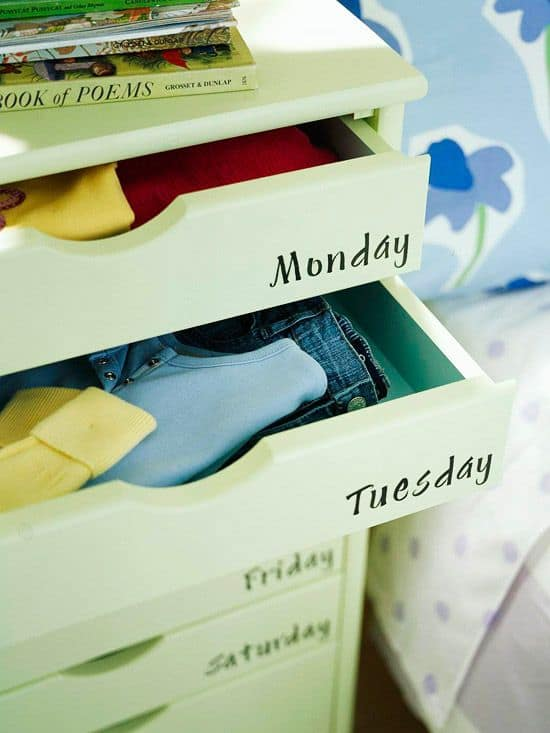Weekly organized clothes dresser