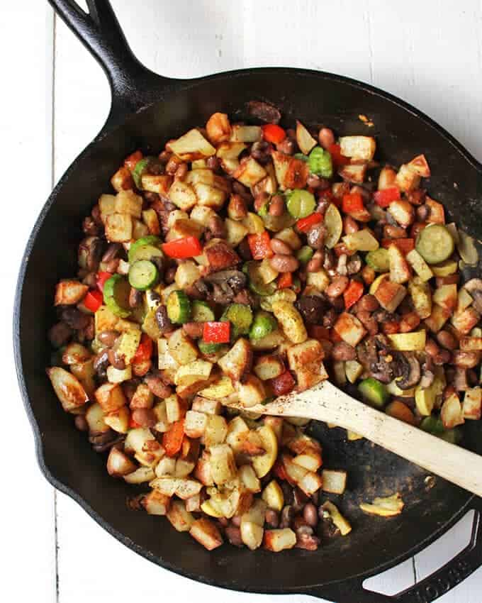 Bean potato veggie vegan breakfast hash baked