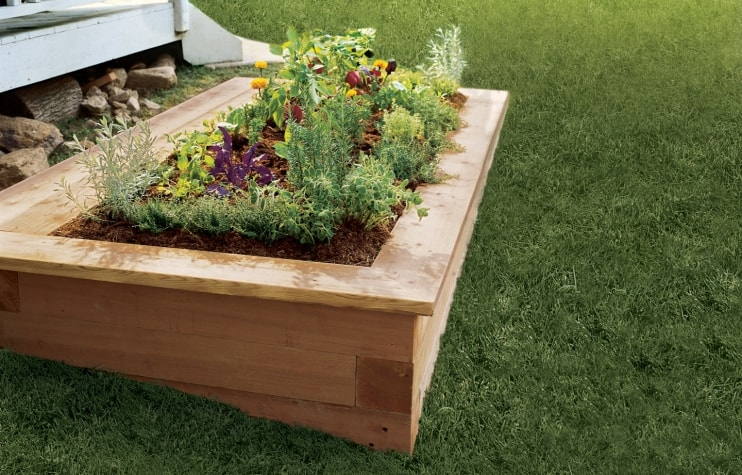 Contemporary diy raised flower bed