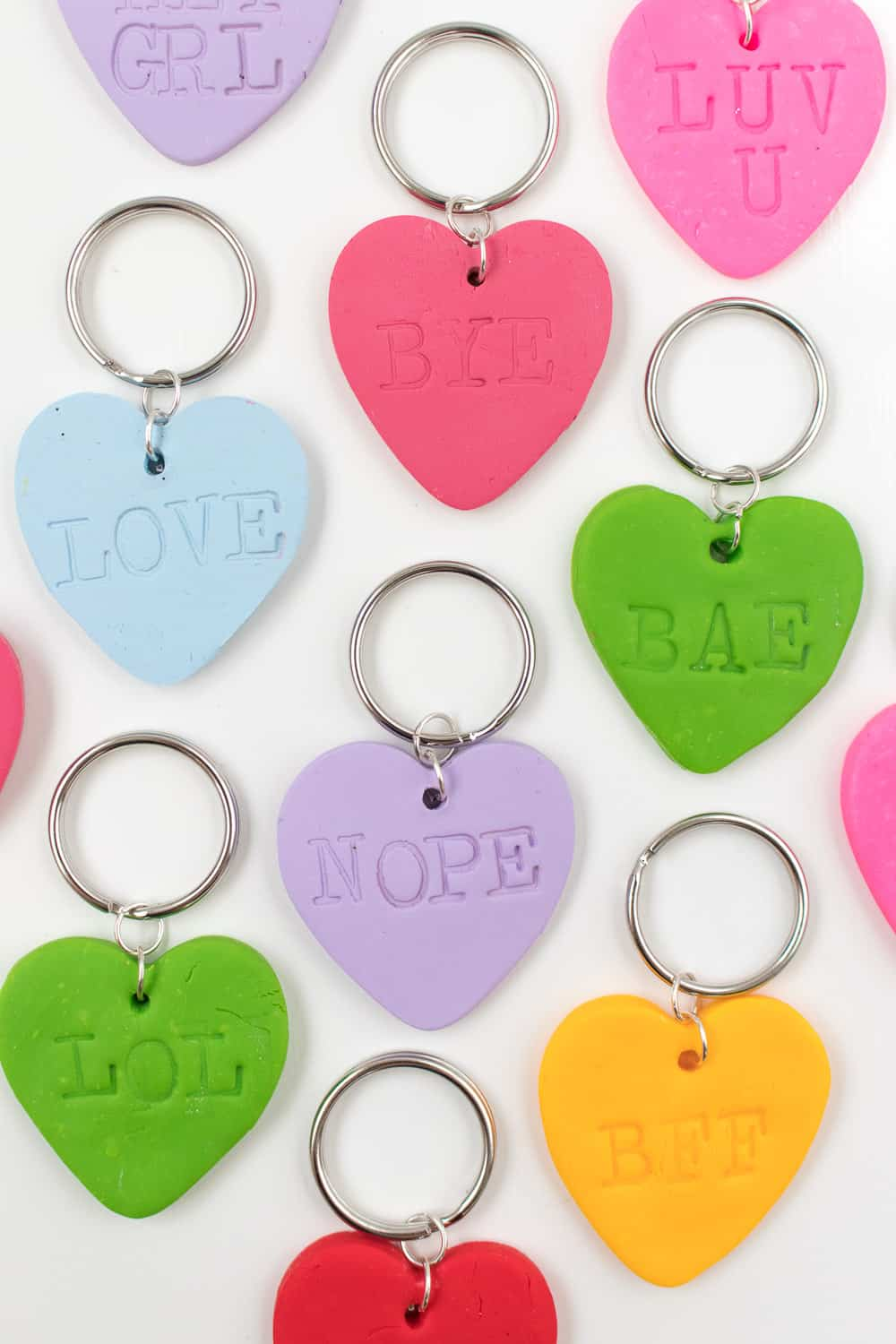 Diy clay embossed heart keychains